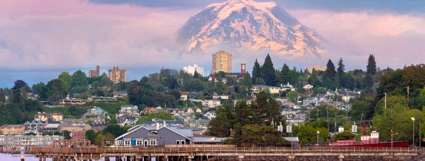 Tacoma Waterfront with Mount Rainier in background.